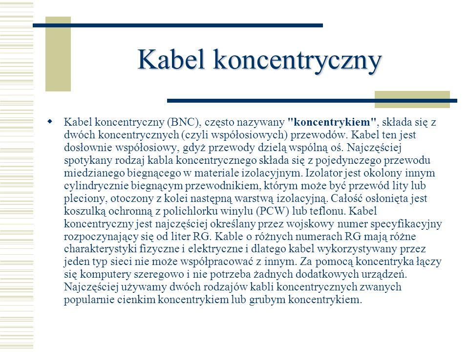 Kabel koncentryczny  Kabel koncentryczny (BNC), często nazywany