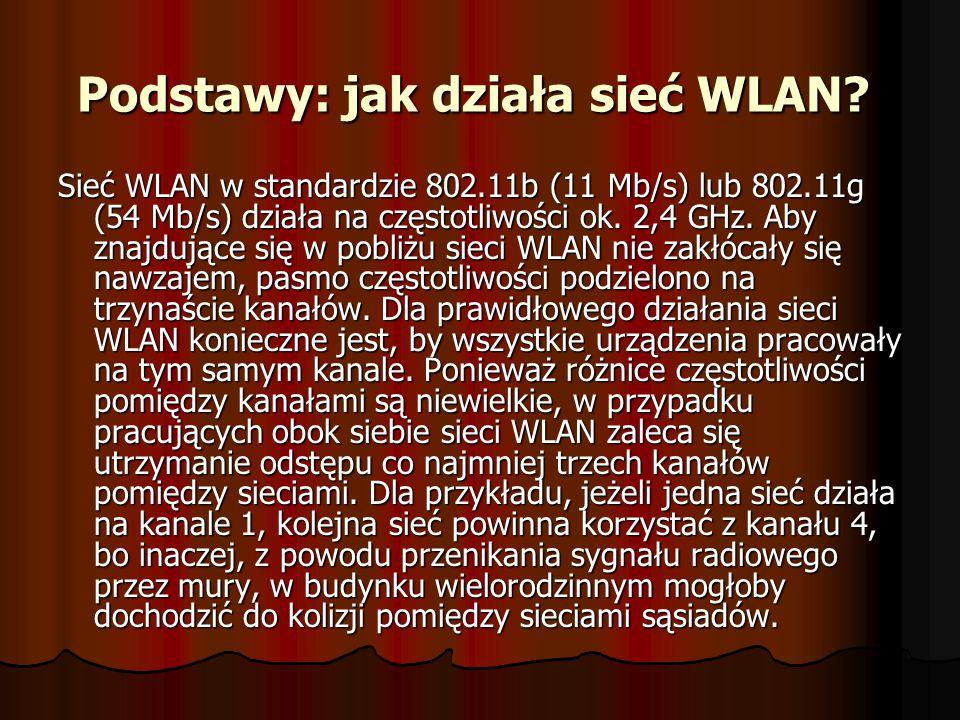 Podstawy: jak działa sieć WLAN? Podstawy: jak działa sieć WLAN? Sieć WLAN w standardzie 802.11b (11 Mb/s) lub 802.11g (54 Mb/s) działa na częstotliwoś