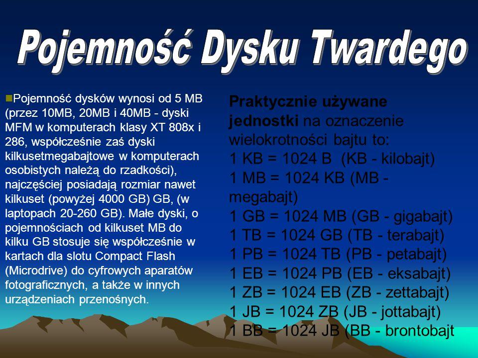 Pojemność dysków wynosi od 5 MB (przez 10MB, 20MB i 40MB - dyski MFM w komputerach klasy XT 808x i 286, współcześnie zaś dyski kilkusetmegabajtowe w k