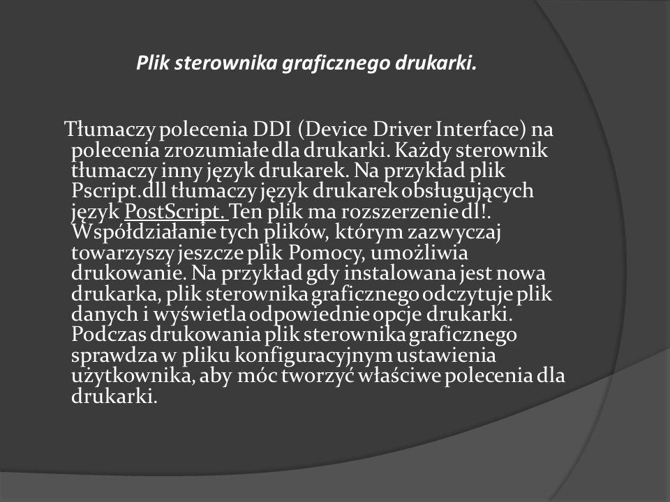Plik sterownika graficznego drukarki. Tłumaczy polecenia DDI (Device Driver Interface) na polecenia zrozumiałe dla drukarki. Każdy sterownik tłumaczy