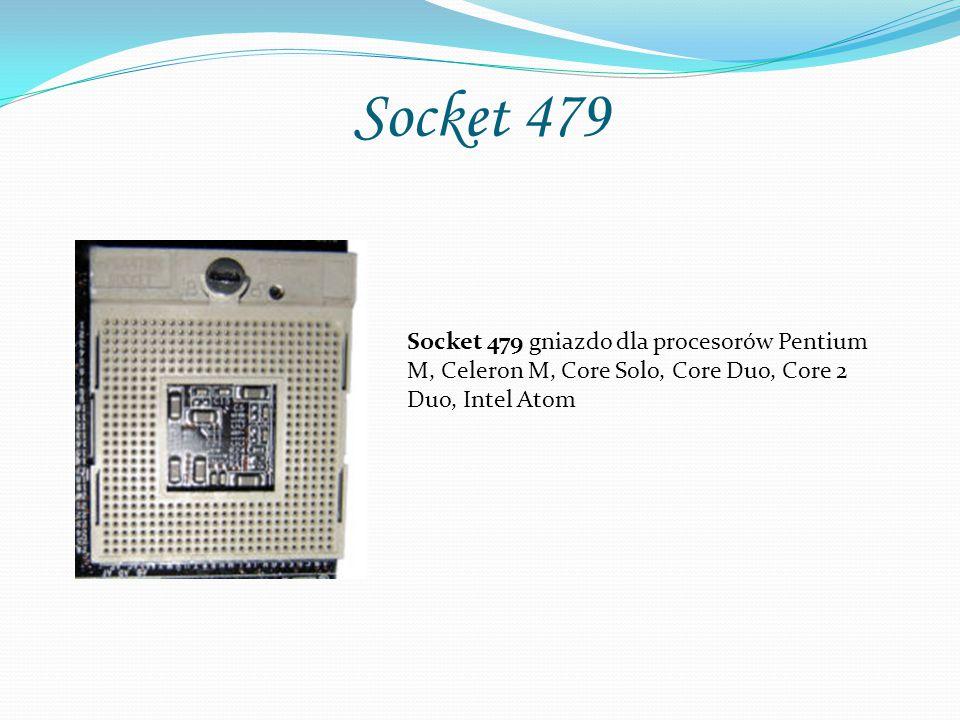 Socket 479 Socket 479 gniazdo dla procesorów Pentium M, Celeron M, Core Solo, Core Duo, Core 2 Duo, Intel Atom