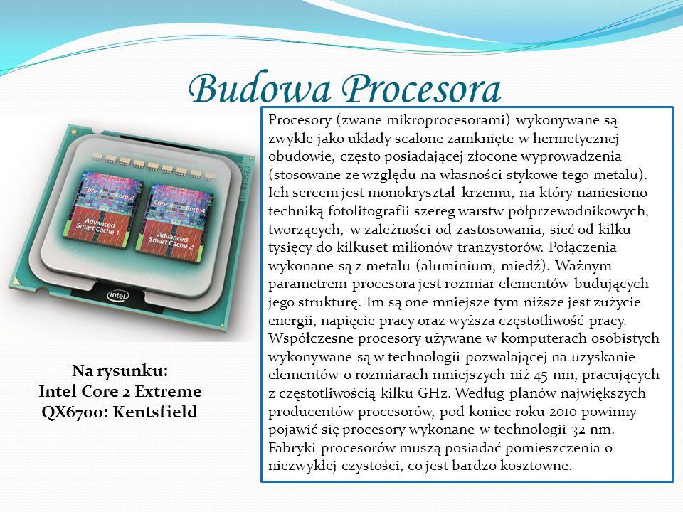 Budowa Procesora Procesory (zwane mikroprocesorami) wykonywane są zwykle jako układy scalone zamknięte w hermetycznej obudowie, często posiadającej złocone wyprowadzenia (stosowane ze względu na własności stykowe tego metalu).