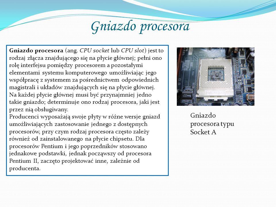 Typy Gniazd Typ gniazda dla procesora musi być zgodny z określonym procesorem.