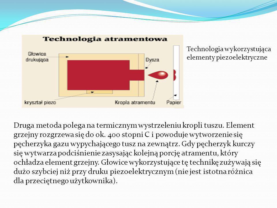 Technologia wykorzystująca elementy piezoelektryczne Druga metoda polega na termicznym wystrzeleniu kropli tuszu.