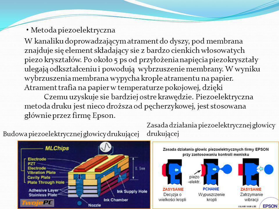 Metoda piezoelektryczna W kanaliku doprowadzającym atrament do dyszy, pod membrana znajduje się element składający sie z bardzo cienkich włosowatych piezo kryształów.
