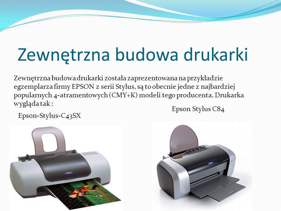 Zewnętrzna budowa drukarki Zewnętrzna budowa drukarki została zaprezentowana na przykładzie egzemplarza firmy EPSON z serii Stylus, są to obecnie jedne z najbardziej popularnych 4-atramentowych (CMY+K) modeli tego producenta.