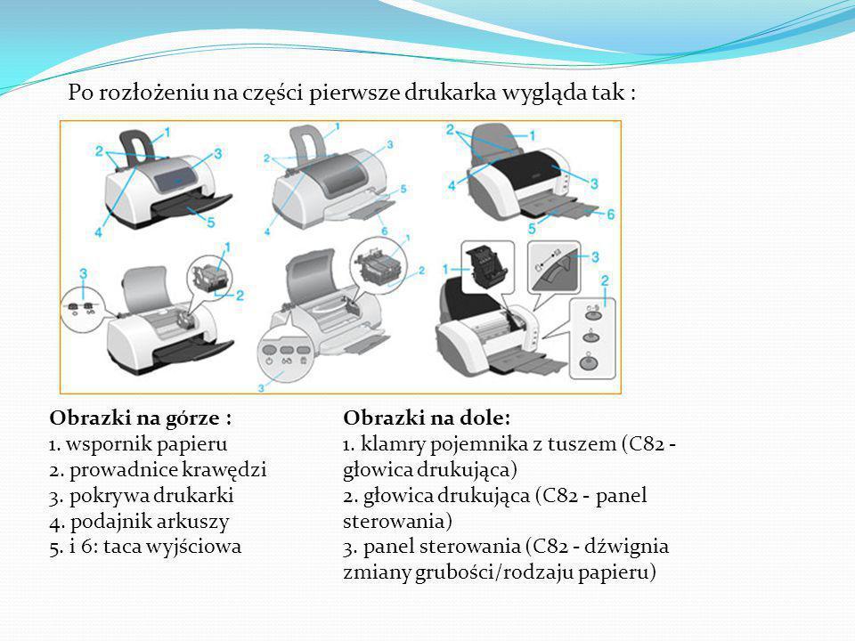 Po rozłożeniu na części pierwsze drukarka wygląda tak : Obrazki na górze : 1.