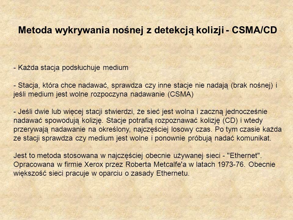 Metoda wykrywania nośnej z detekcją kolizji - CSMA/CD - Każda stacja podsłuchuje medium - Stacja, która chce nadawać, sprawdza czy inne stacje nie nad