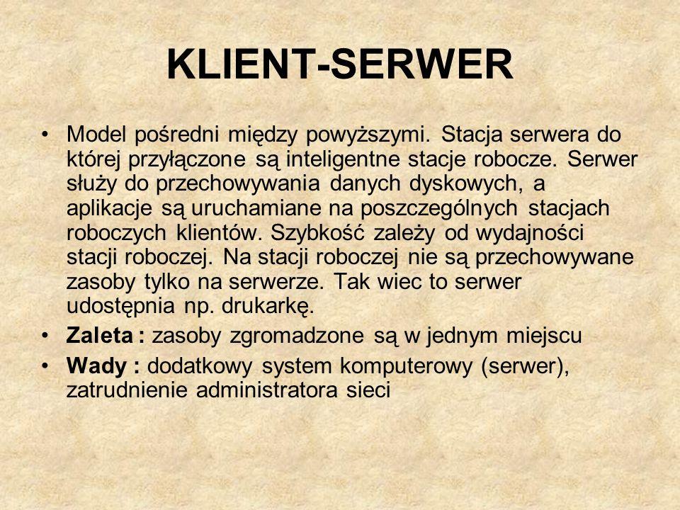 KLIENT-SERWER Model pośredni między powyższymi. Stacja serwera do której przyłączone są inteligentne stacje robocze. Serwer służy do przechowywania da
