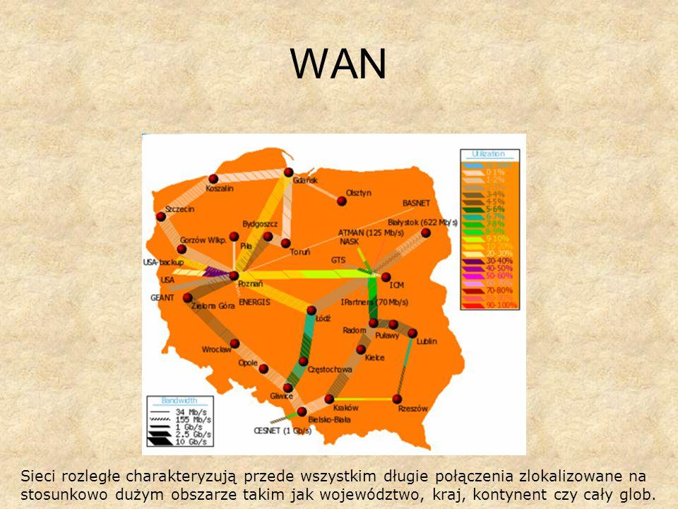 WAN Sieci rozległe charakteryzują przede wszystkim długie połączenia zlokalizowane na stosunkowo dużym obszarze takim jak województwo, kraj, kontynent