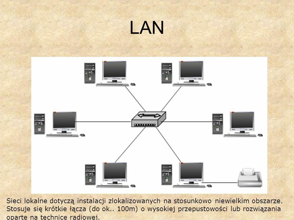 LAN Sieci lokalne dotyczą instalacji zlokalizowanych na stosunkowo niewielkim obszarze. Stosuje się krótkie łącza (do ok.. 100m) o wysokiej przepustow