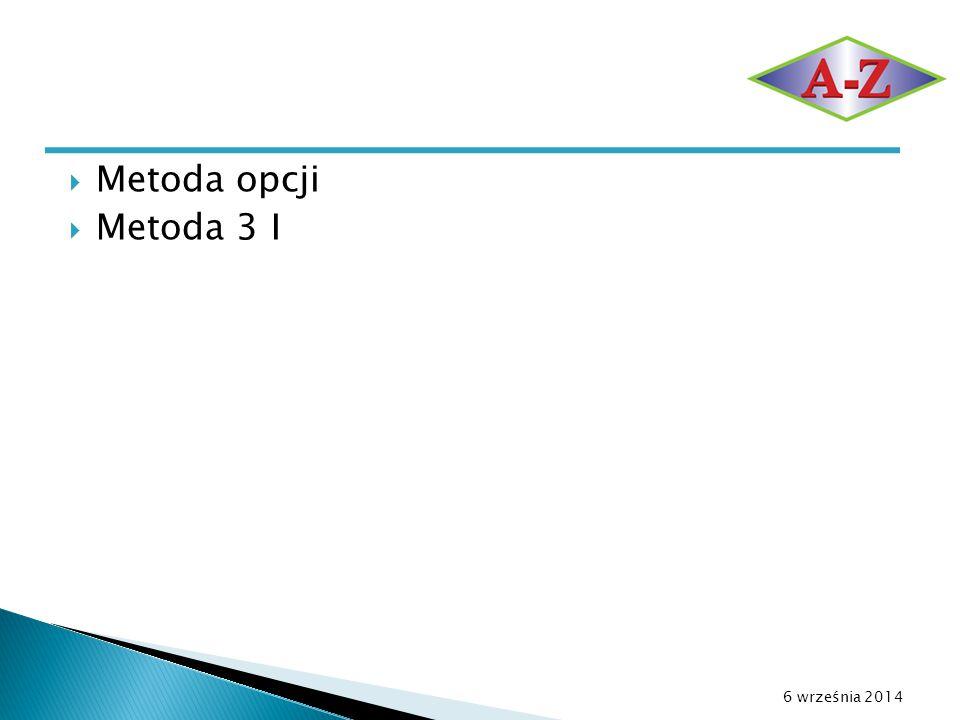  Metoda opcji  Metoda 3 I 6 września 2014