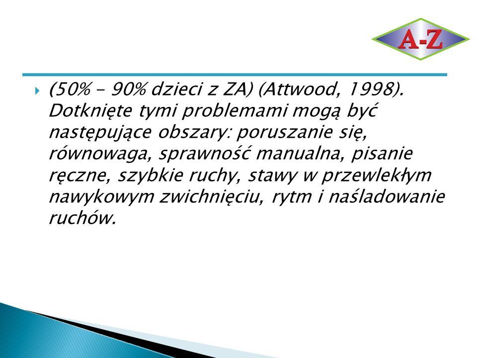  (50% - 90% dzieci z ZA) (Attwood, 1998). Dotknięte tymi problemami mogą być następujące obszary: poruszanie się, równowaga, sprawność manualna, pisa