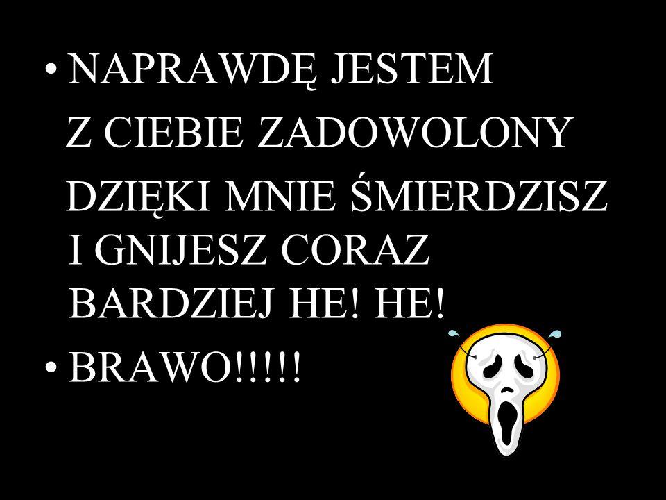 NAPRAWDĘ JESTEM Z CIEBIE ZADOWOLONY DZIĘKI MNIE ŚMIERDZISZ I GNIJESZ CORAZ BARDZIEJ HE! HE! BRAWO!!!!!