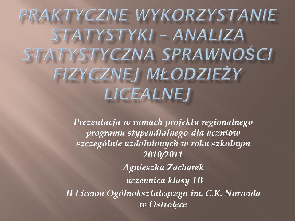 Prezentacja w ramach projektu regionalnego programu stypendialnego dla uczniów szczególnie uzdolnionych w roku szkolnym 2010/2011 Agnieszka Zacharek uczennica klasy 1B II Liceum Ogólnokształcącego im.
