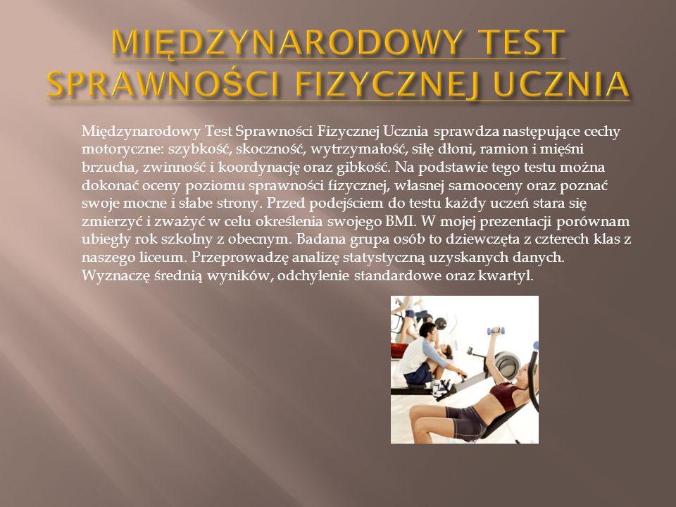 Międzynarodowy Test Sprawności Fizycznej Ucznia sprawdza następujące cechy motoryczne: szybkość, skoczność, wytrzymałość, siłę dłoni, ramion i mięśni