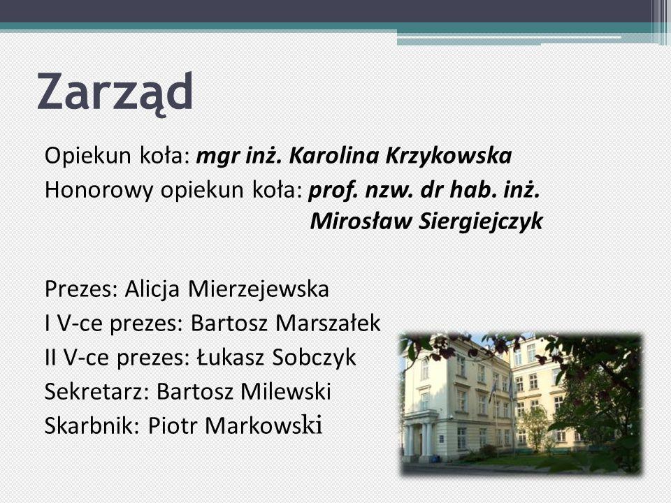Zarząd Opiekun koła: mgr inż.Karolina Krzykowska Honorowy opiekun koła: prof.
