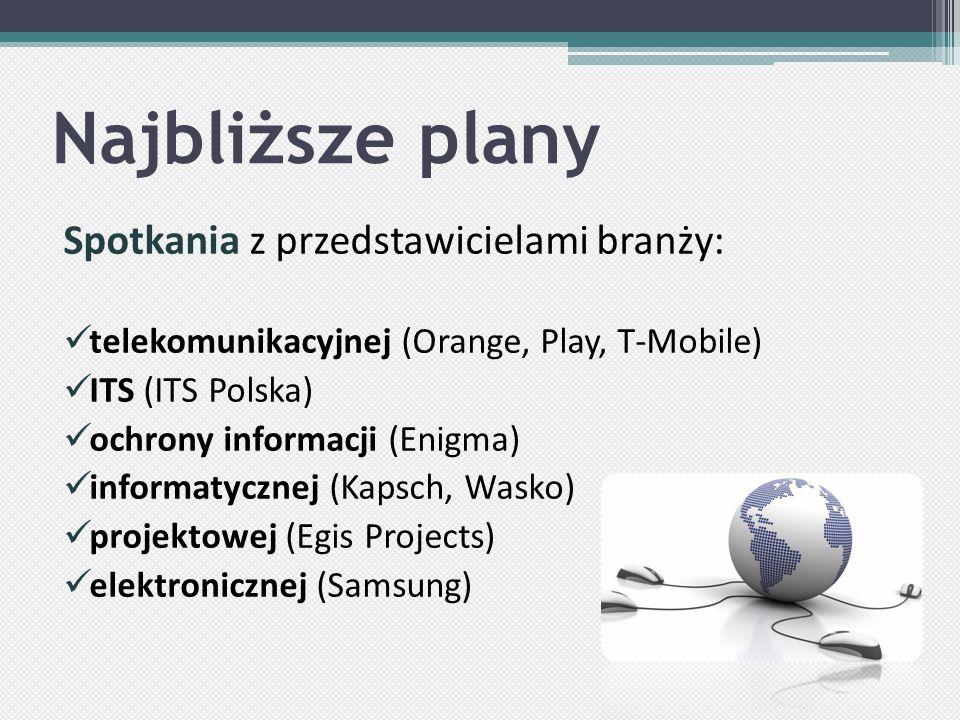 Najbliższe plany Spotkania z przedstawicielami branży: telekomunikacyjnej (Orange, Play, T-Mobile) ITS (ITS Polska) ochrony informacji (Enigma) informatycznej (Kapsch, Wasko) projektowej (Egis Projects) elektronicznej (Samsung)
