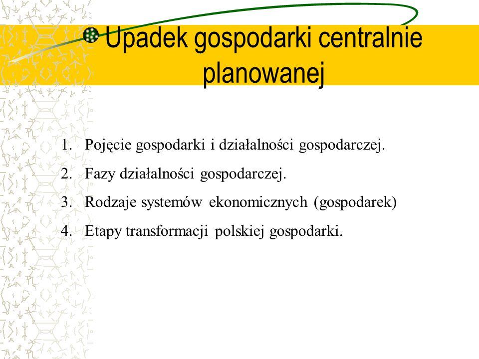 Upadek gospodarki centralnie planowanej 1.Pojęcie gospodarki i działalności gospodarczej.