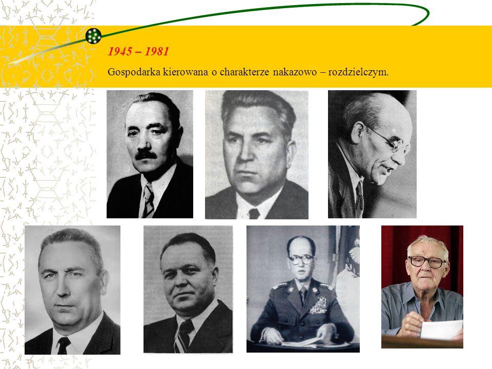 1945 – 1981 Gospodarka kierowana o charakterze nakazowo – rozdzielczym.