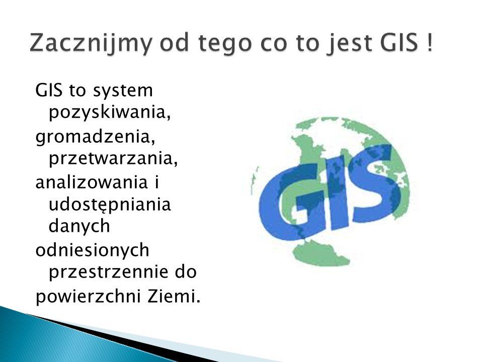 GIS to system pozyskiwania, gromadzenia, przetwarzania, analizowania i udostępniania danych odniesionych przestrzennie do powierzchni Ziemi.