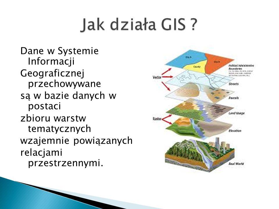 Dane w Systemie Informacji Geograficznej przechowywane są w bazie danych w postaci zbioru warstw tematycznych wzajemnie powiązanych relacjami przestrz
