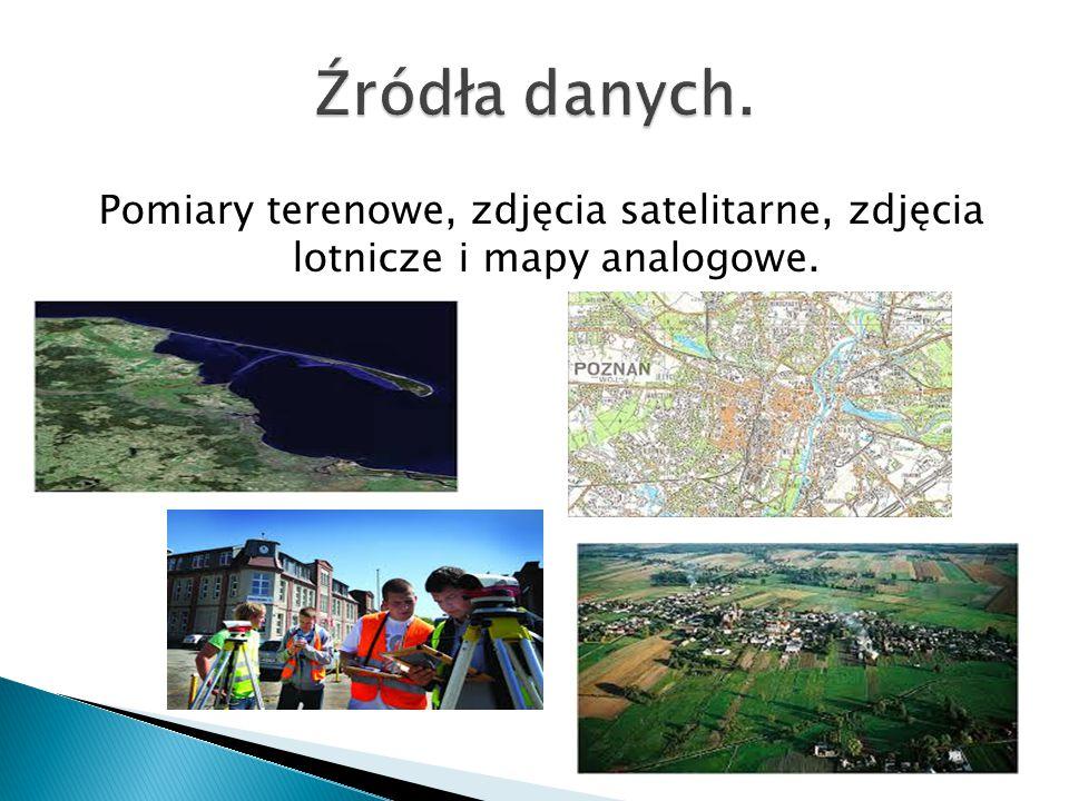 Pomiary terenowe, zdjęcia satelitarne, zdjęcia lotnicze i mapy analogowe.