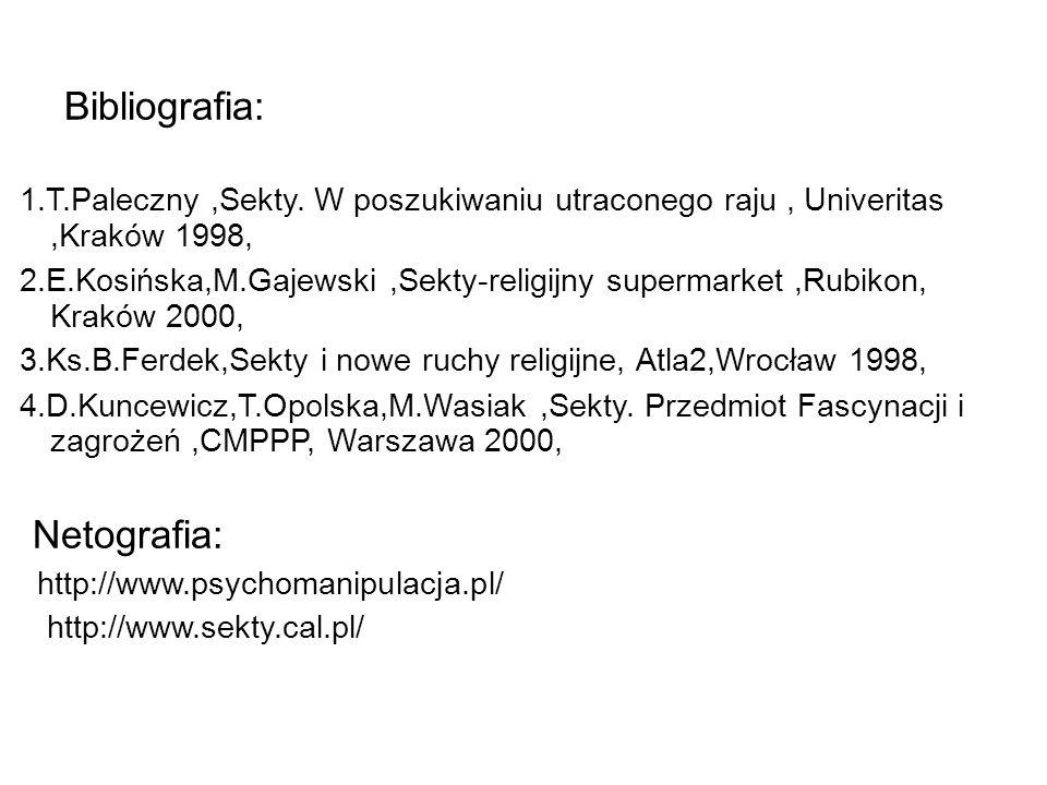Bibliografia: 1.T.Paleczny,Sekty.