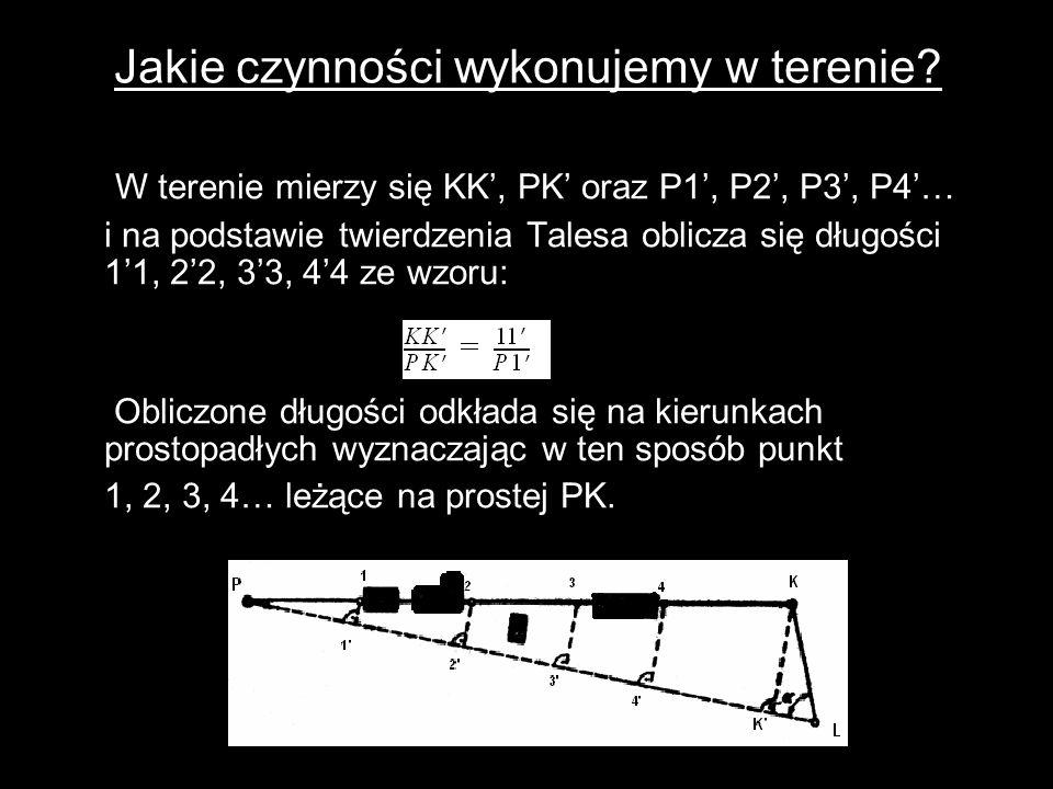 Jakie czynności wykonujemy w terenie? W terenie mierzy się KK', PK' oraz P1', P2', P3', P4'… i na podstawie twierdzenia Talesa oblicza się długości 1'