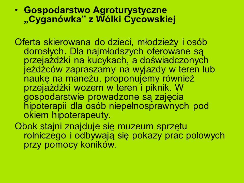 """Gospodarstwo Agroturystyczne """"Cyganówka z Wólki Cycowskiej Oferta skierowana do dzieci, młodzieży i osób dorosłych."""