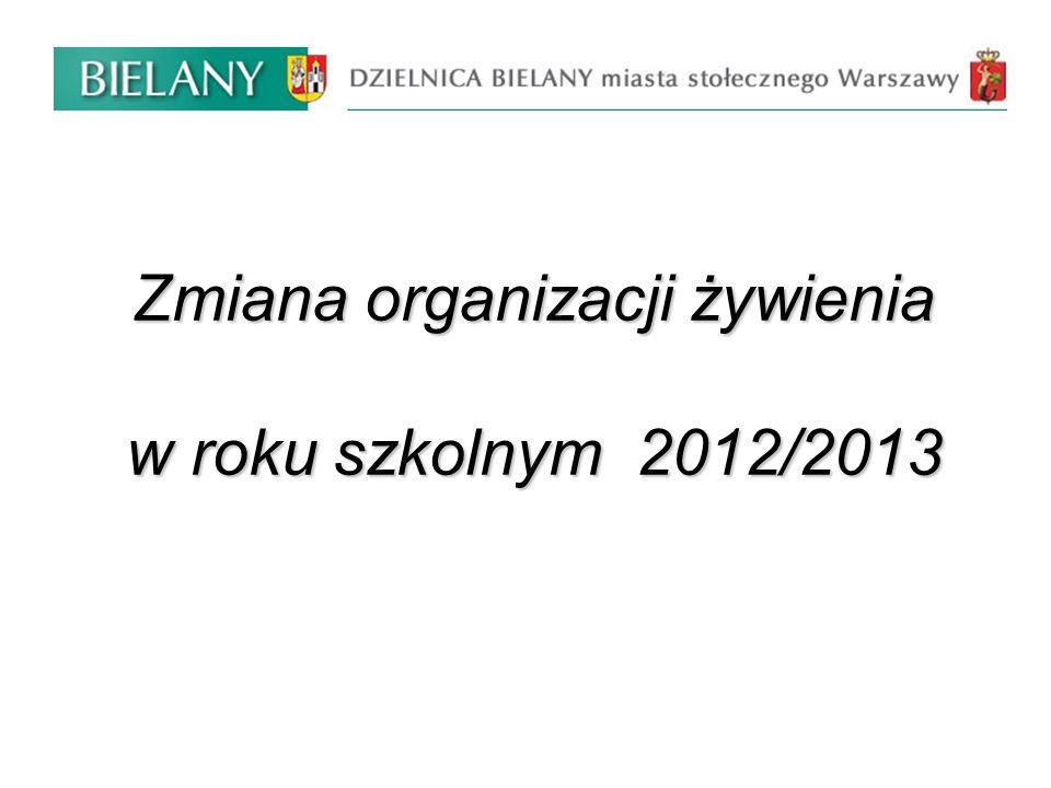 Zmiana organizacji żywienia w roku szkolnym 2012/2013