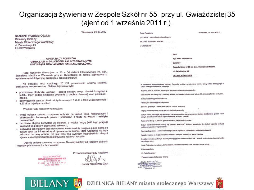 Koszty obiadów w roku szkolnym 2011/2012 w stołówkach szkolnych Dzielnicy Bielany kształtują się na poziomie 4,50 zł - 6,00 zł.