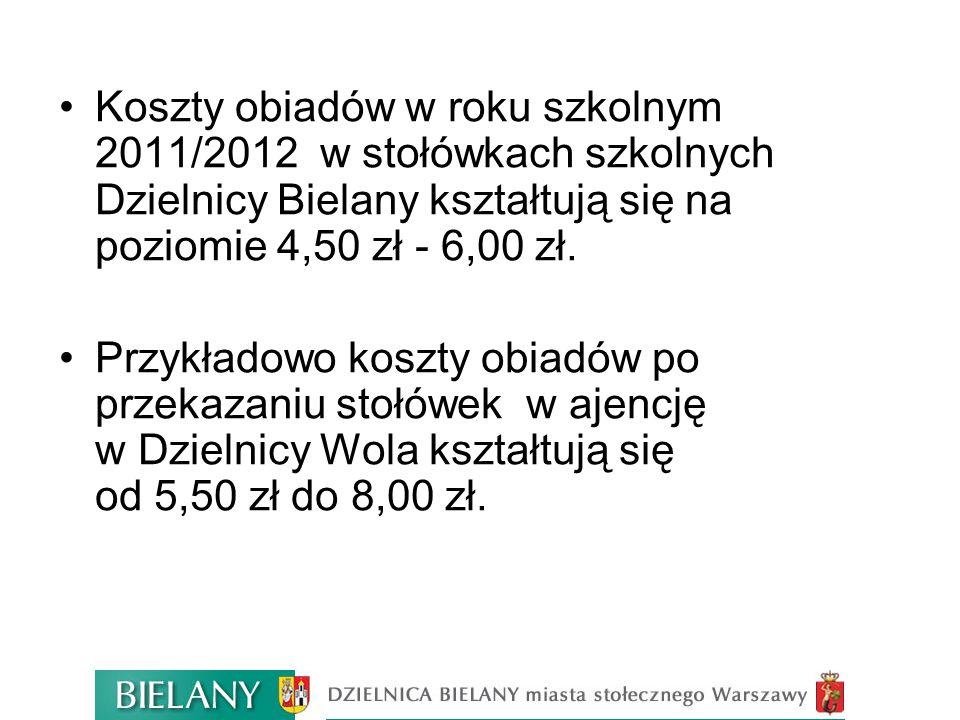 Koszty obiadów w roku szkolnym 2011/2012 w stołówkach szkolnych Dzielnicy Bielany kształtują się na poziomie 4,50 zł - 6,00 zł. Przykładowo koszty obi