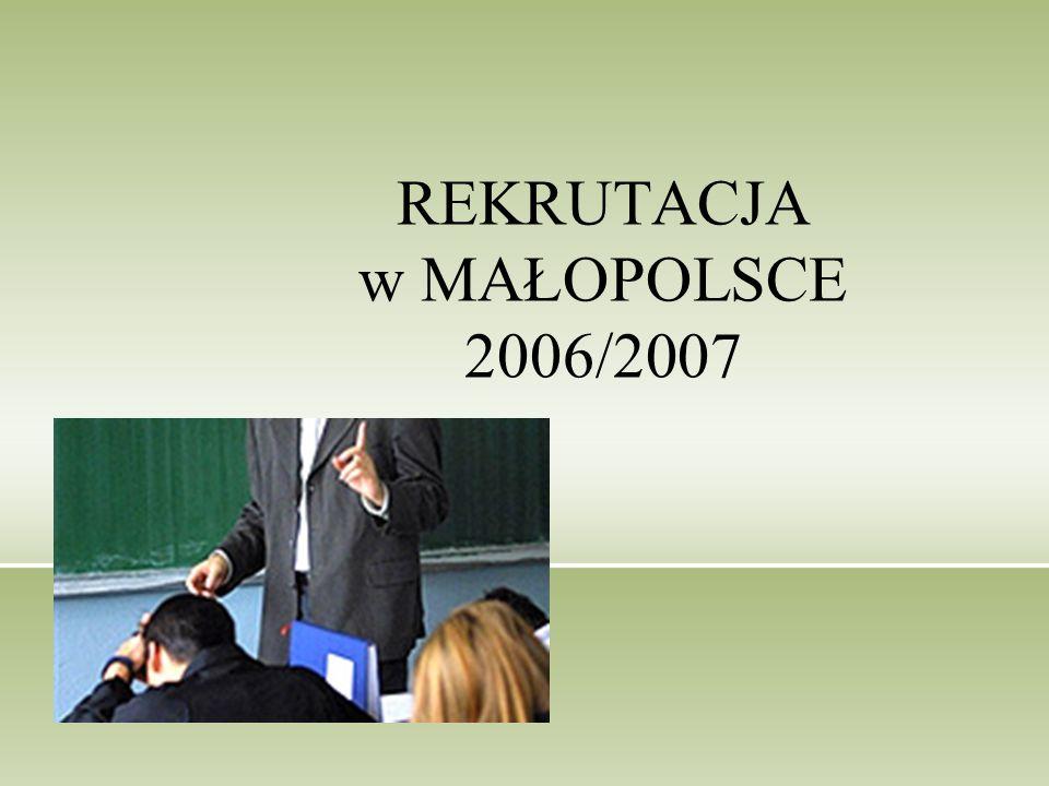 REKRUTACJA w MAŁOPOLSCE 2006/2007