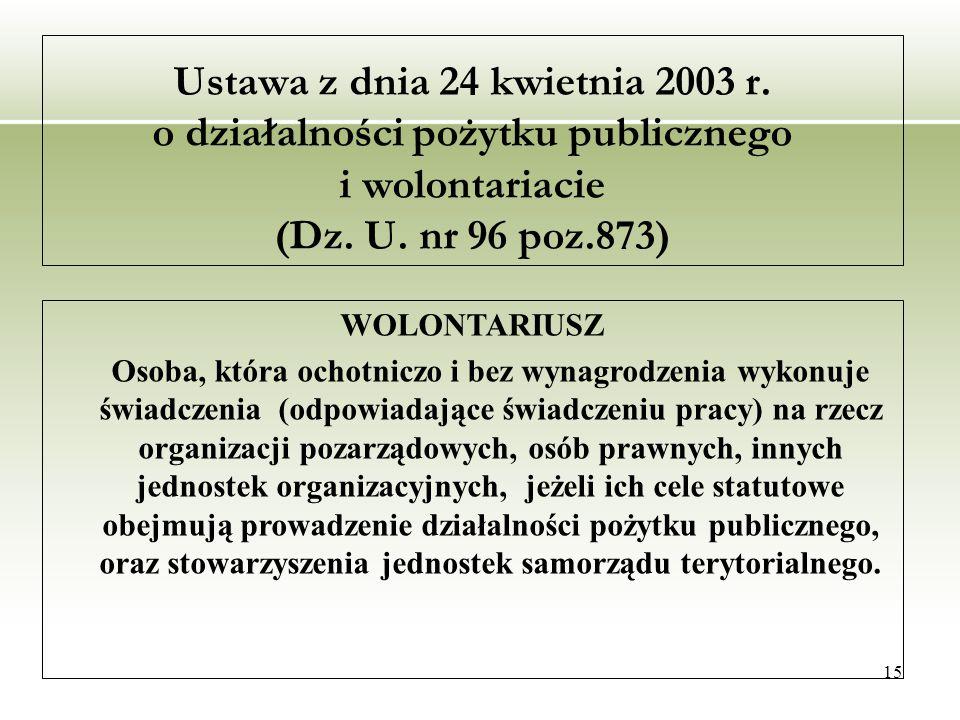 15 Ustawa z dnia 24 kwietnia 2003 r. o działalności pożytku publicznego i wolontariacie (Dz.