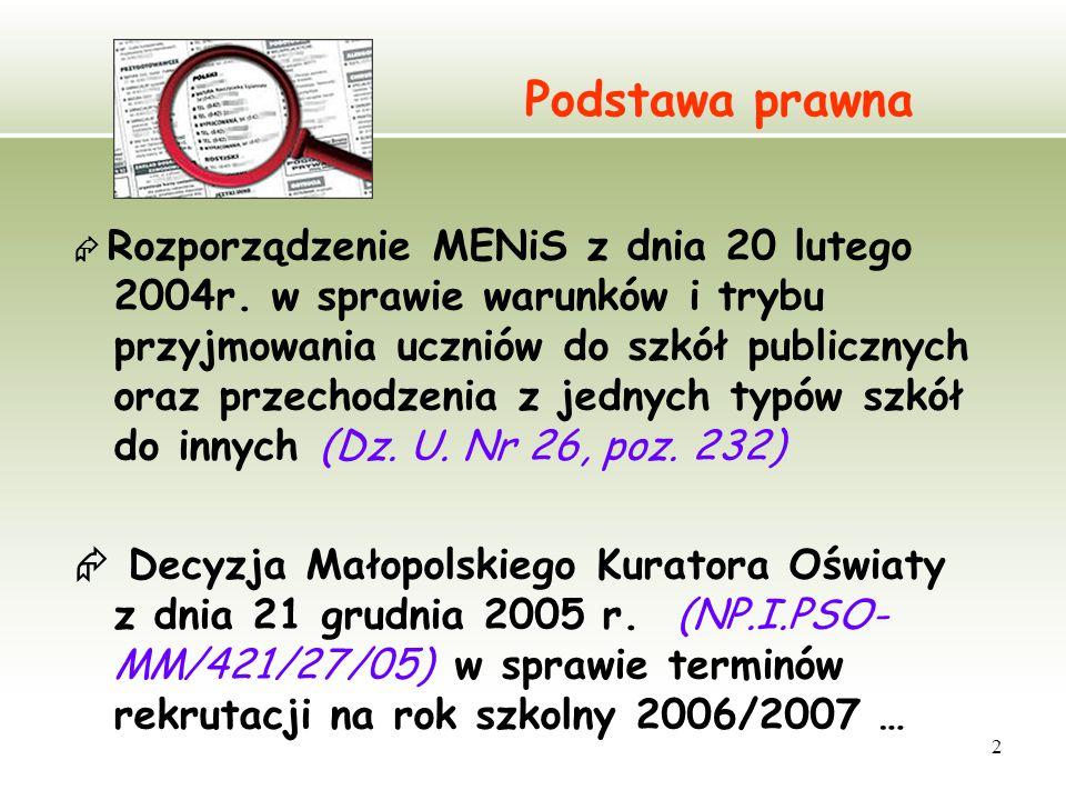 2 Podstawa prawna  Rozporządzenie MENiS z dnia 20 lutego 2004r.