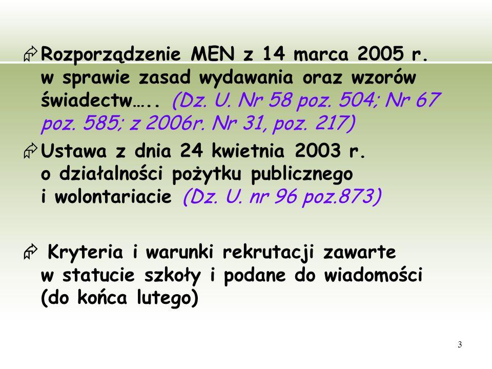 3  Rozporządzenie MEN z 14 marca 2005 r. w sprawie zasad wydawania oraz wzorów świadectw…..