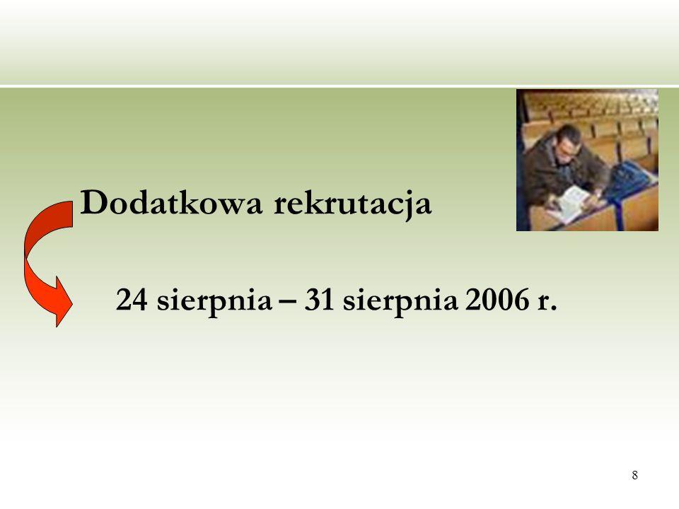 8 Dodatkowa rekrutacja 24 sierpnia – 31 sierpnia 2006 r.