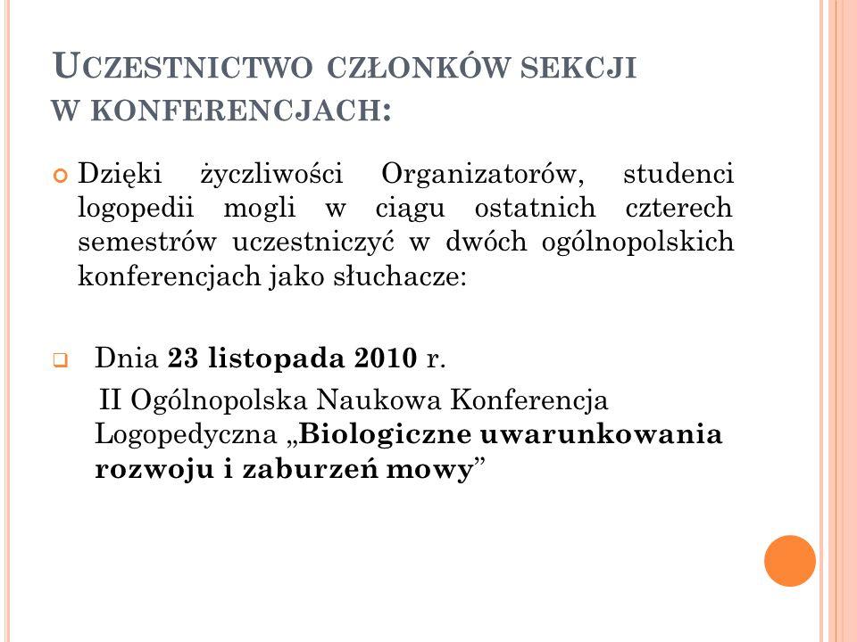 """ Dnia 23 listopada 2011 III Ogólnopolska Naukowa Konferencja Logopedyczna """" NOWA LOGOPEDIA."""