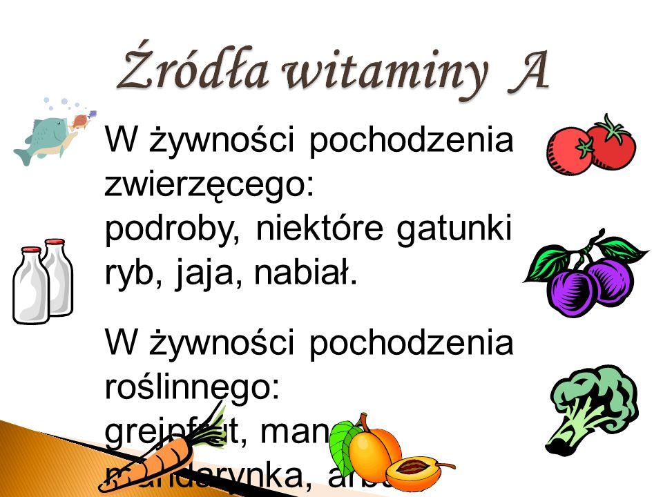 W żywności pochodzenia zwierzęcego: podroby, niektóre gatunki ryb, jaja, nabiał. W żywności pochodzenia roślinnego: grejpfrut, mango, mandarynka, arbu