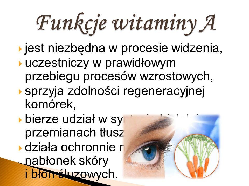  jest niezbędna w procesie widzenia,  uczestniczy w prawidłowym przebiegu procesów wzrostowych,  sprzyja zdolności regeneracyjnej komórek,  bierze