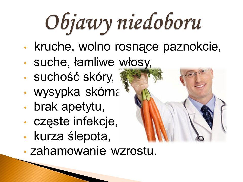 kruche, wolno rosnące paznokcie, suche, łamliwe włosy, suchość skóry, wysypka skórna, brak apetytu, częste infekcje, kurza ślepota, zahamowanie wzrost