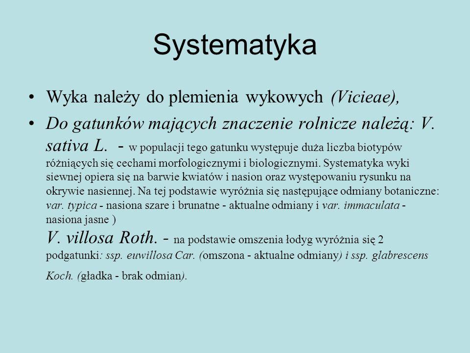 Systematyka Wyka należy do plemienia wykowych (Vicieae), Do gatunków mających znaczenie rolnicze należą: V.