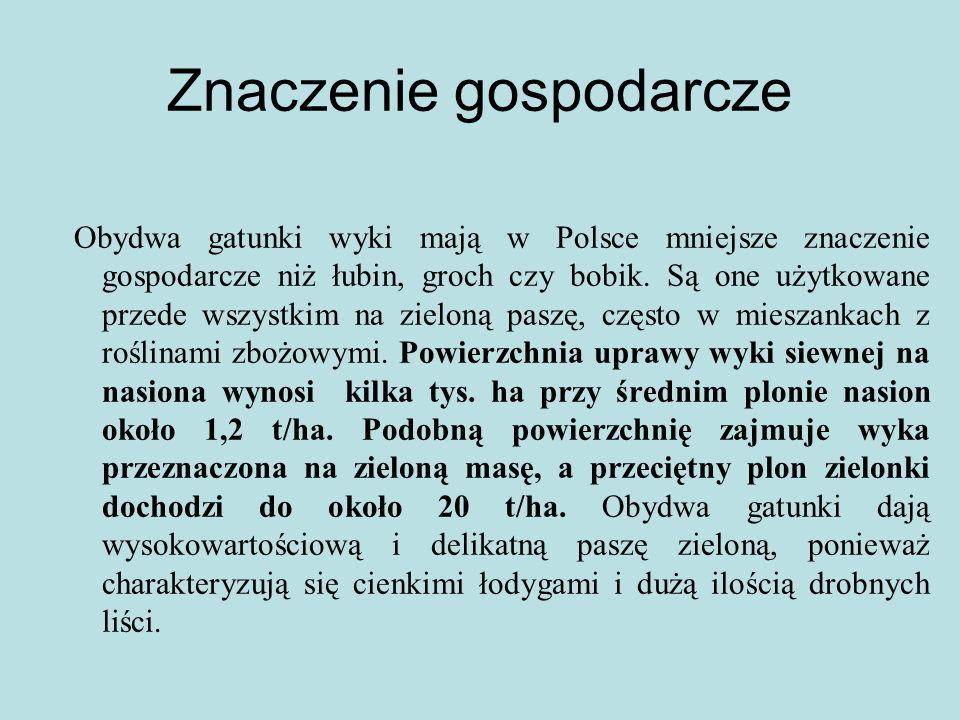 Znaczenie gospodarcze Obydwa gatunki wyki mają w Polsce mniejsze znaczenie gospodarcze niż łubin, groch czy bobik.