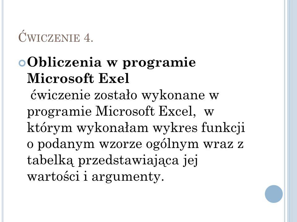 Ć WICZENIE 4. Obliczenia w programie Microsoft Exel ćwiczenie zostało wykonane w programie Microsoft Excel, w którym wykonałam wykres funkcji o podany