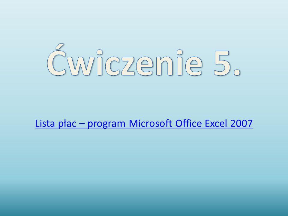 Lista płac – program Microsoft Office Excel 2007