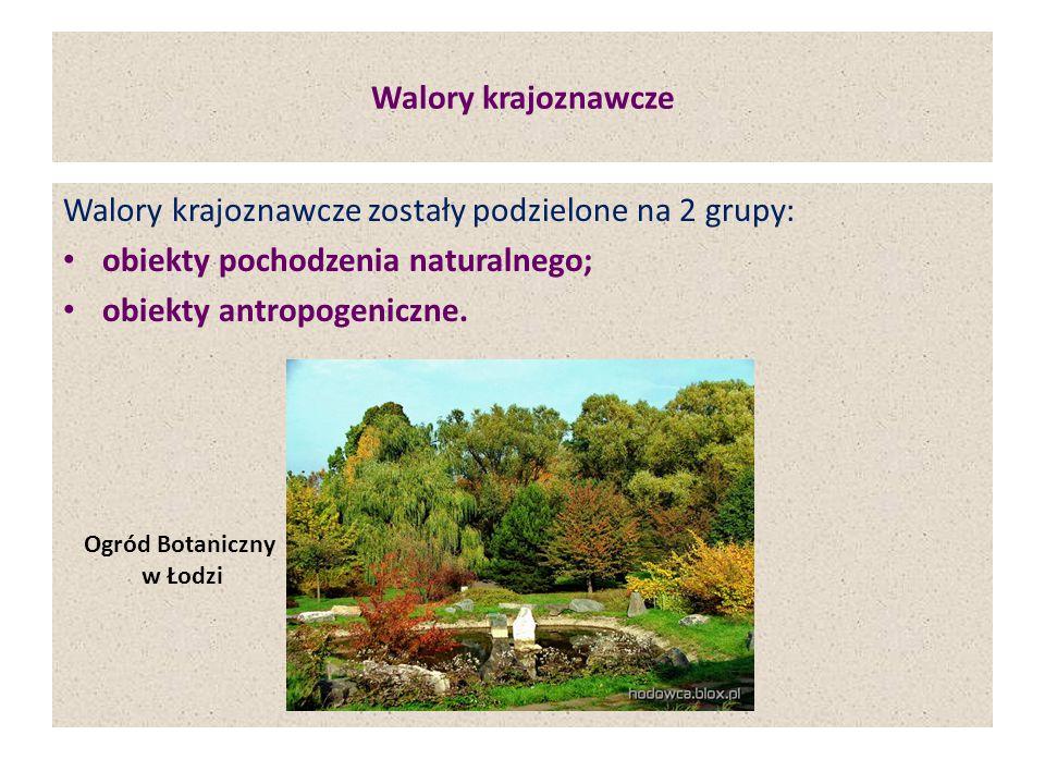 Walory krajoznawcze Walory krajoznawcze zostały podzielone na 2 grupy: obiekty pochodzenia naturalnego; obiekty antropogeniczne. Ogród Botaniczny w Ło