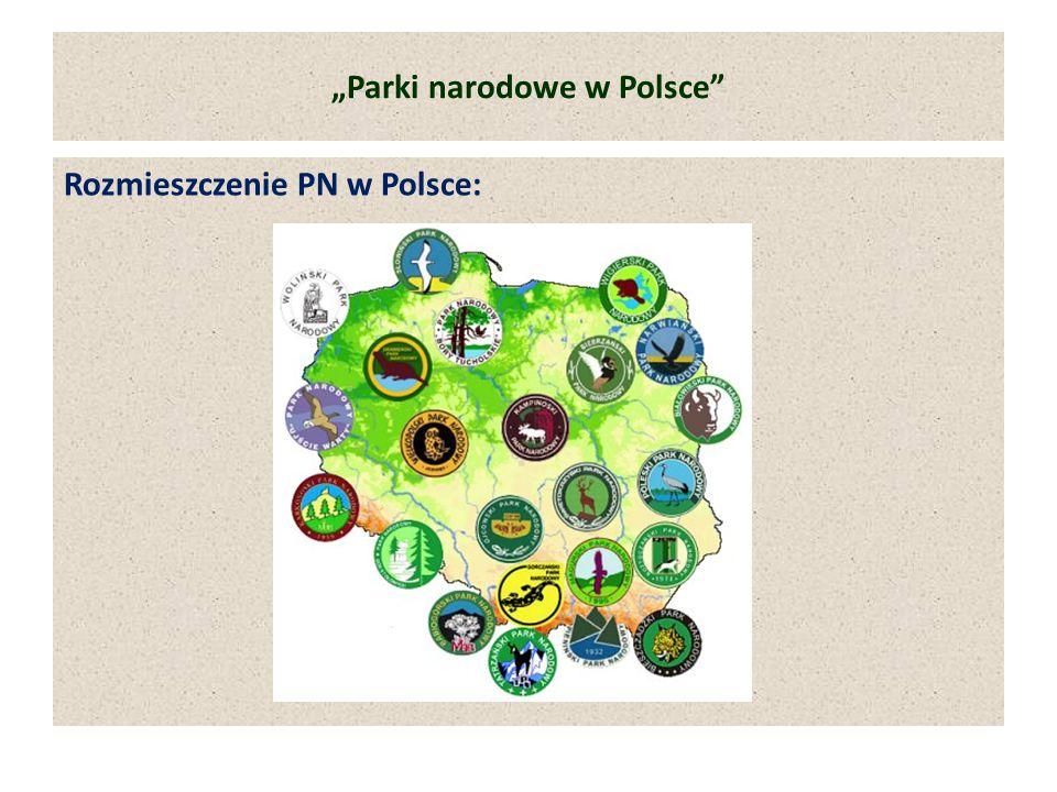 """""""Parki narodowe w Polsce"""" Rozmieszczenie PN w Polsce:"""