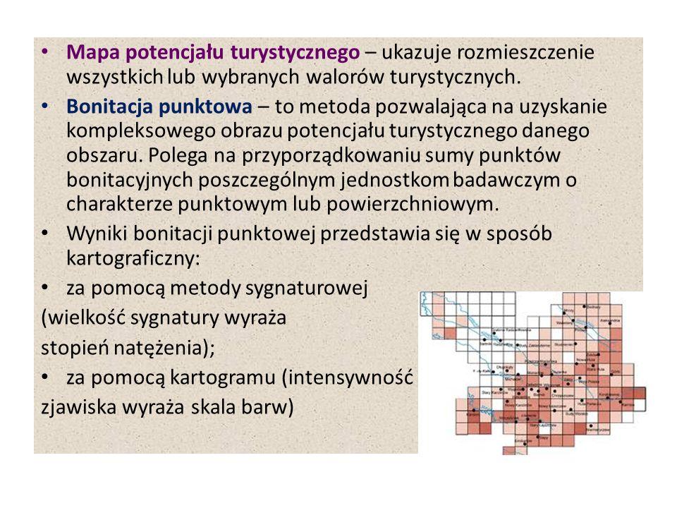 Walory krajoznawcze W oparciu syntezę przestrzenną walorów krajoznawczych można wyznaczyć: walory krajoznawcze występujące punktowo (miejscowości i obiekty) z trójstopniową klasyfikacją wartościującą; walory krajoznawcze występujące obszarowo, z trójstopniowym określeniem ich krajoznawczej atrakcyjności.