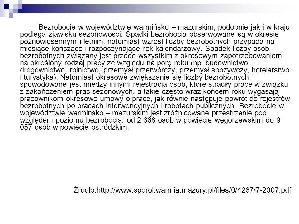 Bezrobocie w województwie warmińsko – mazurskim, podobnie jak i w kraju podlega zjawisku sezonowości. Spadki bezrobocia obserwowane są w okresie późno